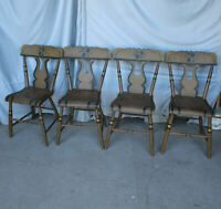 Antique Set of 4 Matching Chairs -painted Stenciled – plank seat – lyre back