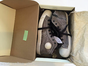NEW Diesel High Top Sneakers Shoes EURO 36 / US 4 Kids Youth Brown White Leather