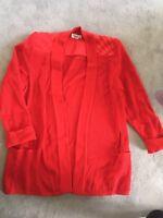 Damen Strickjacke Jacke 100% Wolle  Gr. 48 rot