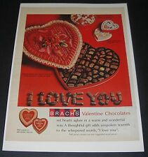 Print Ad 1965 CANDY Brach's Valentine Chocolates Heart Shaped Box I Love Your