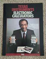 Rare - Texas Instruments 1982 Electronic Calculators Brochure TI Cosby Vintage