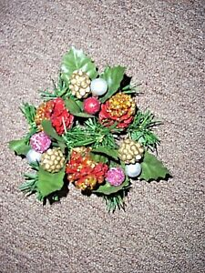 """gold silver red pine cones greenery candle ring fits 1.25"""" candle"""
