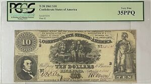 1861 $10 T-30 Confederate Ten Dollar Note PCGS Very Fine 35PPQ