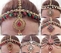 Indian Tikka Jewellery Bollywood Style Head Chain Tikah Hair Head Gold  Plated