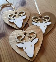 3 X Reindeer Stag Christmas Decorations Shabby Chic Nordic Wood Heart Gold Ivory