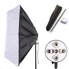 """PRO E27 5 Socket Light Lamp Bulb Head + 60x90cm/24x35"""" Studio Photo Softbox Kit"""