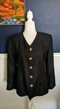 VTG Herbert Grossman Cynthia Sobel Jacket Coat Blazer Suit Black Sz 8 Saks Fifth