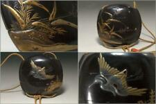 INR17 FINE Japanese Antique wooden Inro black lacquer egret Gold makie ojime