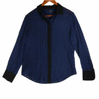Madewell Women's Blue Silk Sheer Velour Polka Dot Button Up Top - Size Small