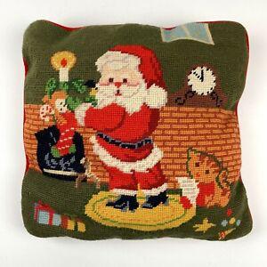 Santa Claus Pillow Needlepoint Christmas Fireplace Scene 13 x 13 Red Velour