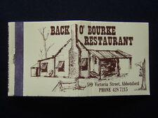 BACK O' BOURKE RESTAURANT 589 VICTORIA ST MELBOURNE OZ COMEDY 4287215 MATCHBOOK