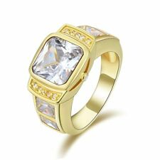 Jewelry Size 8 Mens 18K Gold Filled Halo White Sapphire Engagement Luxury Ring