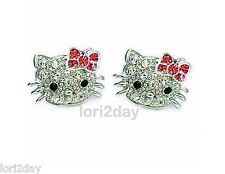 * HELLO KITTY* SPARKLING RHODIUM PLATED CRYSTAL Stud Earrings with RED BOWS