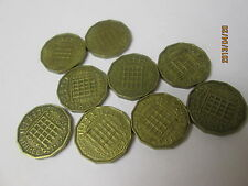 More details for lot of 9 x three pence brass coins.... elizabeth ii, dated 1954-1967.. old rare