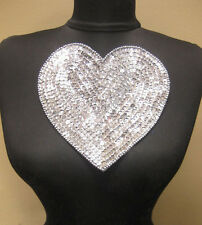 """Valentines 7"""" Silver Sequin & Bead Heart Sew on Applique Dance Costume Crafts"""