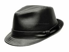 BLACK or BROWN FAUX LEATHER FEDORA TRILBY BLACK STINGY PORKPIE HAT BUCKET CAP