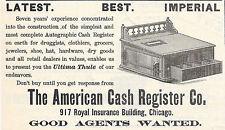 RARE OLD 1892 AMERICAN AUTOGRAPHIC CASH REGISTER AD CHICAGO IL ILLINOIS