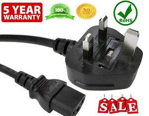 HP 1.8M -UK PC Mains Power,Cable Kettle Lead Power Lead TFT LCD TV IEC COMPUTER