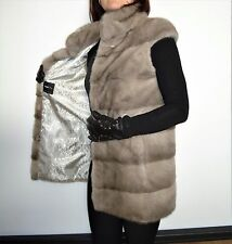 New Saga SIlverblue mink fur long vest horisontal style all sizes top quality!