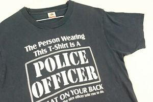 Vintage 90s FUNNY Sex Police Officer T Shirt Single Stitch Blue Medium Hipster