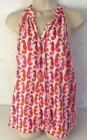Mud Pie Women's Top Sleeveless Tunic V-Neck Seahorse Pattern Size Small NWT