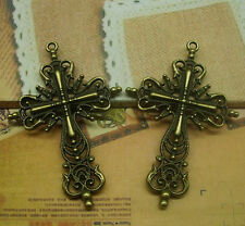 10/30 pcs 62x40mm Antique bronze Lovely Filigree Cross Jewelry Charms Pendant