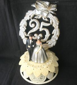 Vintage WEDDING CAKE TOPPER 25 Silver Anniversary