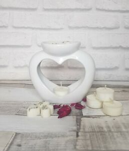 White Double Well Dish Heart Wax melt / Oil Burner candle gift Free Samples
