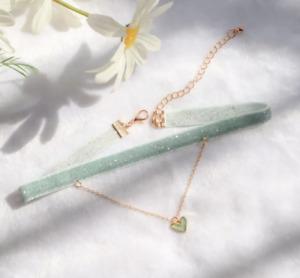 Velvet Choker Small Heart Pendant Necklace