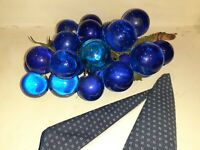 Vtg Lucite Acrilic  Large Cluster Cobalt Blue 1970's Grapes on Stem