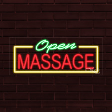 "Brand New ""Open Massage"" w/Border 32x13X1 Inch Led Flex Indoor Sign 30574"