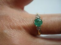 Vtg Fancy Lovey Gift~14k Gold Diamond Round Emerald Solitaire Ring~Sz6.5~Free SH