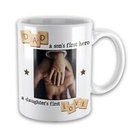 Personalised Dad A Sons First Hero A Daughter First Love Novelty Mug