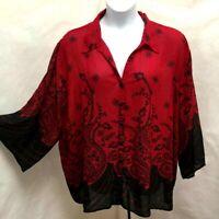 J Jill 3X Tunic Top Burgundy Iridescent Taffeta Silk Satin Plus Size Shirt