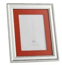 Pottery Barn CADRE Frame 5X7 Silver Plated Orange Grosgrain NEW IN BOX