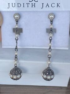 Judith Jack Sterling Silver Drop Marcasite Pearl Earrings