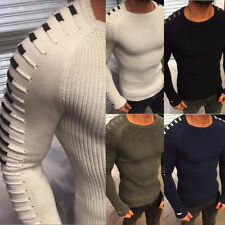 ITS- Fashion Men O-Neck Knitting Sweater Long Sleeve Slim Fit Pullover Top Noted