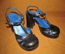 Seven Star women's 6M Vintage 90s black T strap Mary Jane Platform sandals