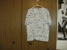 women size (xlarge) floral pattern short sleeve scrub top