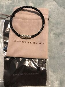 David Yurman Men's Black Leather Sterling Silver Bracelet