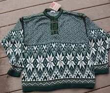 Norwegian Design Men's Wool Sweater Green & White Snowflake NWT Sz S