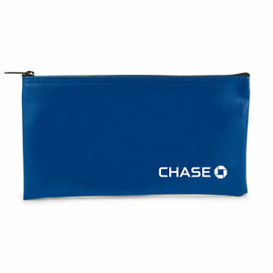 CHASE BLUE BANK MONEY BAG ZIPPER TOP DEPOSIT LOGO NEW FREE SHIPPING