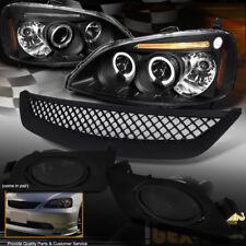 2001-2003 Honda Civic Halo Projector Black Headlights W/ Smoke Fog Light + Grill