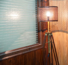 Designer Compaign Style Nautical Brass Tripod Floor Lamp With Large Metal Shade