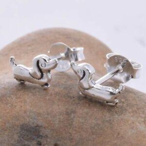 Sterling Silver Dachshund Stud Earrings