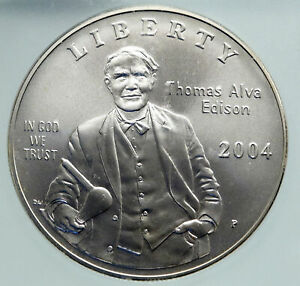 2004 UNITED STATES Thomas Edison INVENTOR of LIGHT BULB SILVER $ Coin ICG i86678