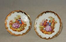 "(x2) LIMOGES D&C FRANCE 3.5"" MINIATURE PORCELAIN PLATES ""LOVE STORY"" FRAGONARD"