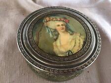 Vintage Portrait Dresser Powder Box With Glass Insert & Mirror