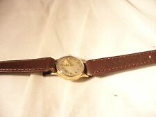 Ladies gold cased omega leather strap