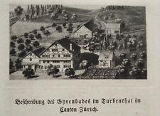 Gyrenbad im Turbenthal Schweiz  seltener echter Kupferstich in Aquatinta 1820